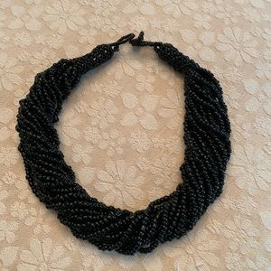Classic black beaded statement necklace